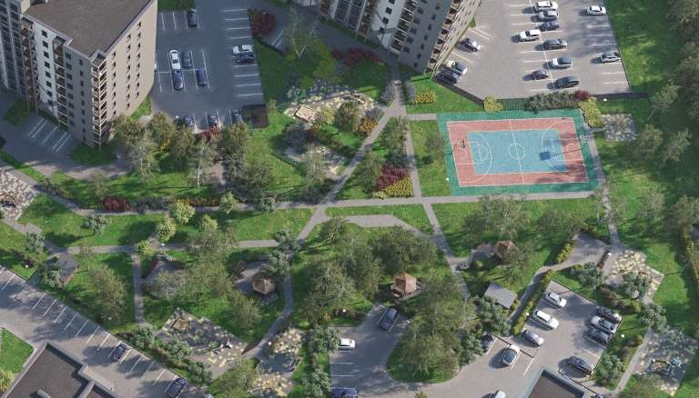 Skats no augšas - dzīvoklis Krasta kvartālā